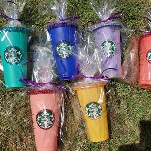 Bedazzled color changing Starbucks cups